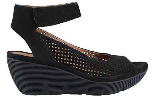 Clarks Women's Clarene Prima Black Nubuck Sandal 8 B (M)