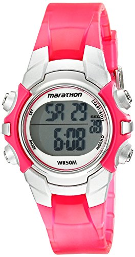Marathon by Timex Women's T5K808 Digital Mid-Size Pink/Silver-Tone Resin Strap Watch (Womens Timex Pink)