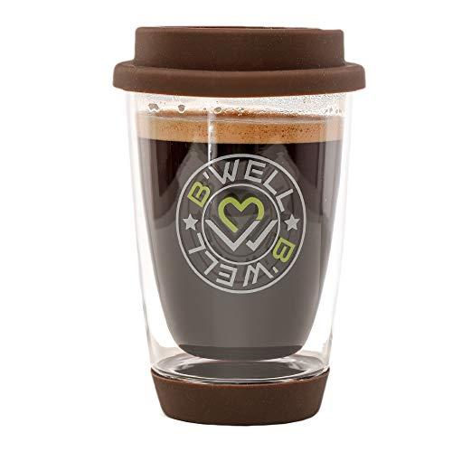 (B'WELL 12 oz - Glass Travel Mug - Reusable Coffee Cup - To Go Coffee Mug - Silicone Lid & Base - Tea Travel Mug - Hot & Cold Drinks - Dishwasher & Microwave Safe - (Coffee Brown))