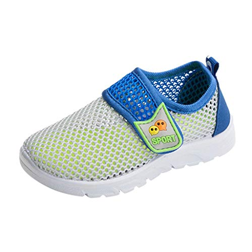 (Tantisy ♣↭♣ Children's Sports Shoes Baby Girls Boys Velcro Mesh Breathable Sport Run Sneakers Soft Casual Outdoor Shoes Gray)