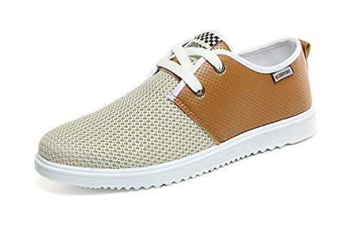 VECJUNIA Mens Fashion Breathable Outdoor Lace Up Closed Toes Flat Canvas Casual Shoes Khaki DEHEiP