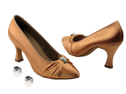 Ladies Women Ballroom Dance Shoes Very Fine EKS9169 with HP 2.5 Heel Tan Satin Pq92P
