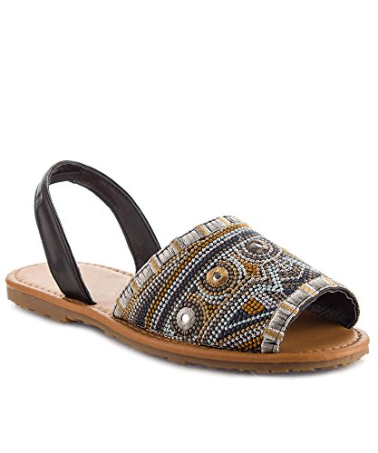 Embroidered Slingback (RF ROOM OF FASHION Women's Embroidered Tapestry Peep Toe Sling Back Flat Sandal Black (7.5))