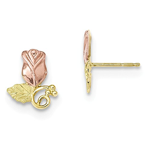 FB Jewels 10k White Yellow And Rose Tri Gold Black Hills Gold Rose Post Earrings