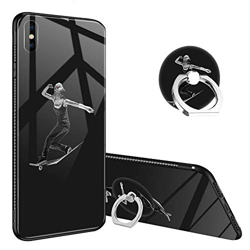 iPhone Xs Max Case,Bird Brain I iPhone X Max Tempered Glass Back Cases with Finger Ring Stand for Boy, 360° Rotatable Ring Holder Kickstand Fashoin Soft TPU Bumper Frame Case - Glass Brain Bird Giant