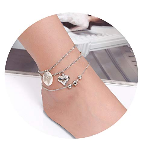 - 3PCS Anklet Bracelet for Women Charm Beach Anklets with Heart Bead Butterfly Acrylic Disc Chain Foot Jewelry Set Adjustable (Silver)