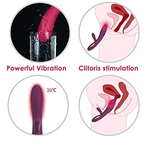 Slogan not Heating Vibrator Magic Wand Rechargeable Rabbit Vibrator G Spot Clitoris Stimulator Erotic Toys Sex Toys for Woman,Wine Red by Tiehan Vibrators (Image #4)