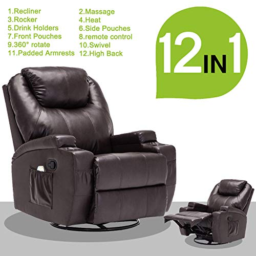 Massage Recliner Sofa Leather Vibrating Heated Chair Lounge with Remote Control