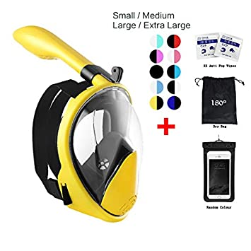180 Snorkel Mask View for Adults and Youth. Full Face Free Breathing Design. Free Bonuses Cell Phone Universal Waterproof Case Dry Bag and Anti-Fog Wipes