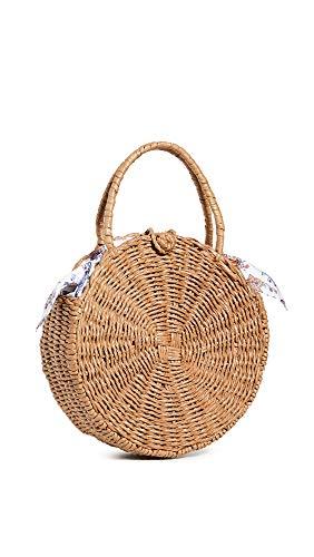 Sensi Studio Women's Round Canasta Tote Bag, Beige/Cotton Cowboy, Tan, One Size