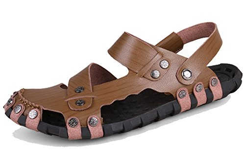 Brown Breathable Water Dark TDA Casual PU Buckle Summer Sandals Men's Slippers Beach Leather Shoes 8fZwOHxq