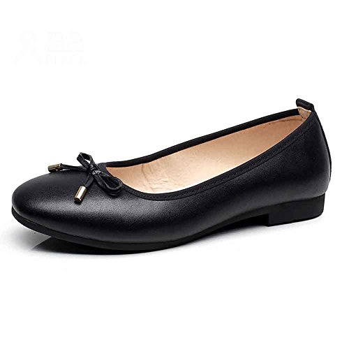 - LIURUIJIA Women Round Toe Ballet Flats with Bow Tie Slip On Casual Comfortable Shoes black-39