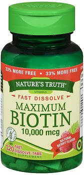 Nature's Truth Maximum Biotin 10,000 mg Fast Dissolve Tabs Berry - 120 ct, Pack of 5 by Nature's Truth