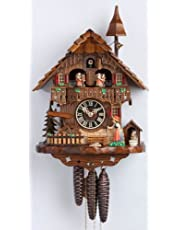 Hönes Cuckoo Clock Black Forest House, Turning Mill-Wheel HO 6777T