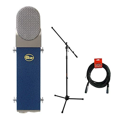 Blue Blueberry Cardioid Studio Condenser Large Diaphragm Microphone with Tripod Microphone Stand & 20' XLR-XLR Cable Kit (Blueberry Cable Microphone)
