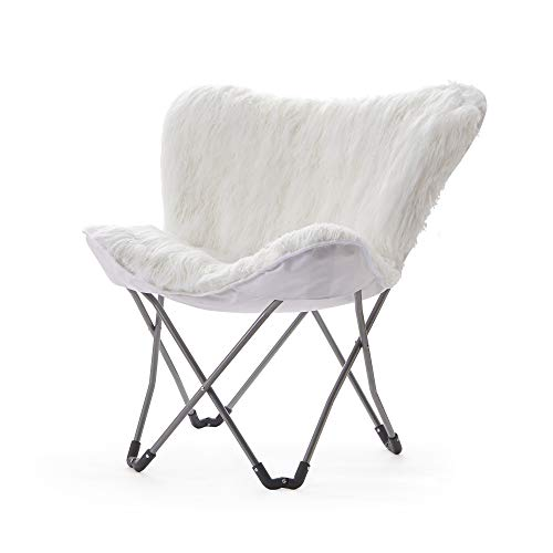 Fur Butterfly Chair – White