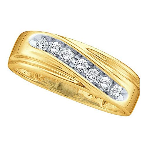 10k Yellow Gold Round Channel-set Diamond Mens Curved 2-tone Wedding Band 1/4 -