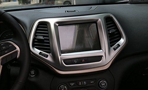 Pulidi Car Navigation Cover Decorative GPS Frame Trim For Jeep Cherokee 2014 2015 2016 ABS Matte Silver 1pc ()