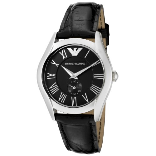 Emporio Armani Women's Quartz Stainless Steel and Leather Casual Watch, Color:Black (Model: AR0644)
