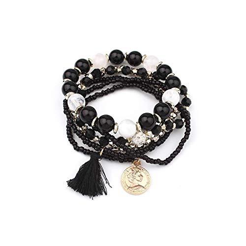 Bracelet Women Multilayer Beads Bangle Tassels Beaded Tassel Gift Ladies,Black