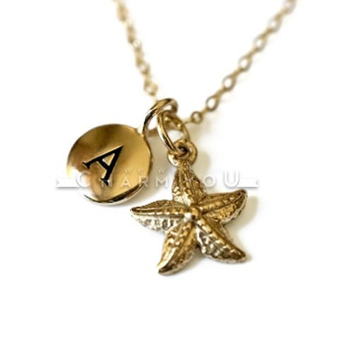 18' Gold Filled Chain - Natural Bronze Starfish Pendant with small bronze letter charm on a 16