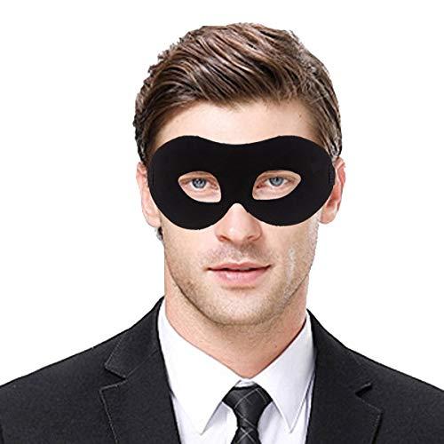 IDOXE Zorro Black Masquerade Masks Cool Men Fighter Masquerade Face Mask for Ball Party/Halloween (Black) (Masquerade Masks Ball Leather)