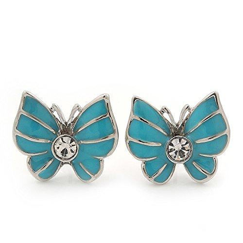 Petites boucles d'oreille diamante Papillon émail bleu clair en finition argent - longueur ,18mm,