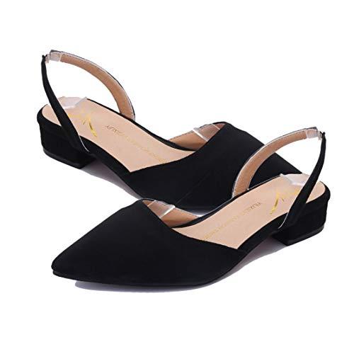 Moda Zapatos De Tiras Femeninas Ocasionales Plano Mujeres Tacón Señoras Las Sandalias Punta Respirables Verano rSExwFE