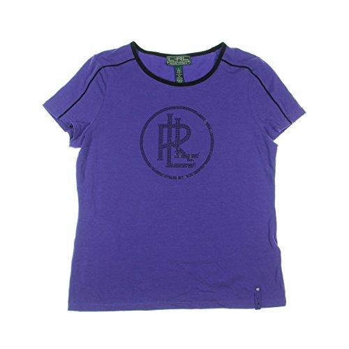 L-RL Lauren Active Womens Rhinestone Contrast Trim T-Shirt Purple S
