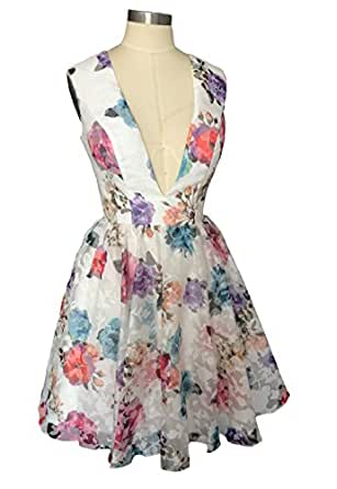 Dearta Women's A-Line V-Neck Short Mini Floral Printed Homecoming Dresses US 12