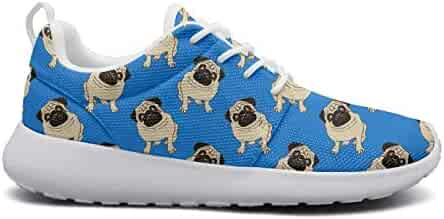 2fcb0fd8d6198 HDE45DH Pug Dog Men Lace-Up Mesh Sneaker Print Shock Absorption Breathable Running  Shoes