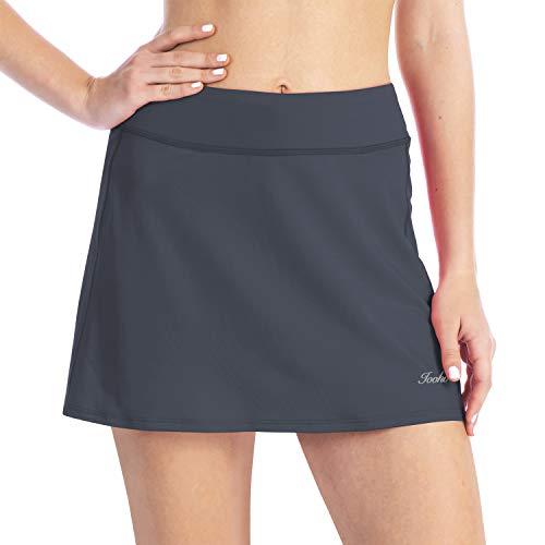 iooho Women's Active Athletic Skirt Lightweight Skort with Hidden Pockets for Running Tennis Golf Workout (Gray, XL) -