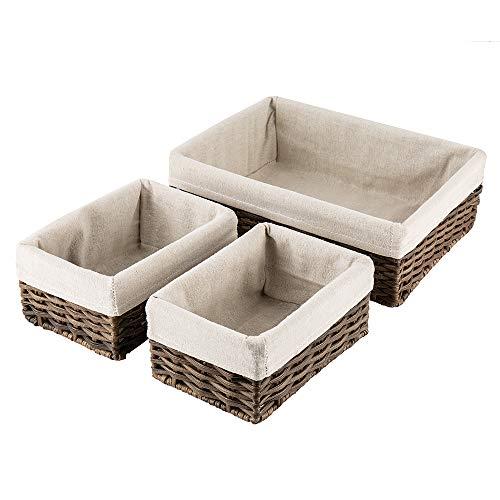 (Hosroome Handmade Wicker Storage Baskets Set Shelf Baskets Woven Decorative Home Storage Bins Decorative Baskets Organizing Baskets Nesting Baskets(Set of 3,Brown))