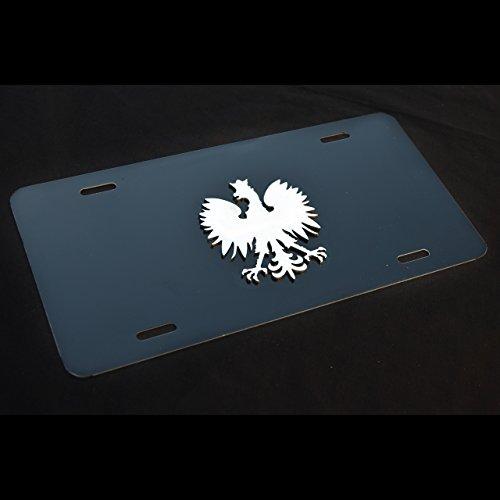 Mina Gallery Poland Polish Eagle Black Decor License Plate Stainless Steel Emblem Ornament w. Hardware
