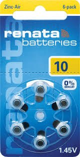 Renata Hearing Aid Batteries, SIZE: 10. 60 Batteries by Renata Zinc Air