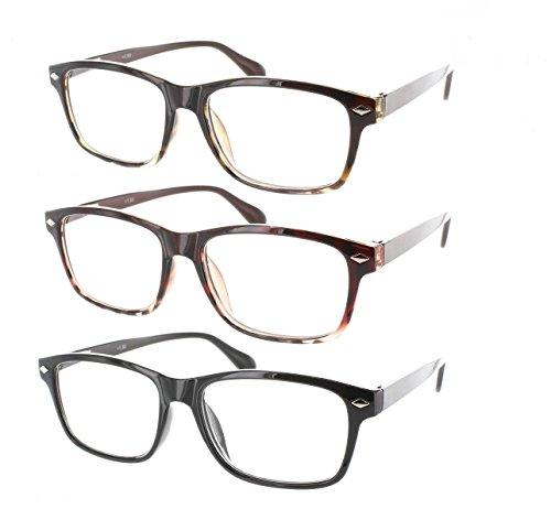 3 PACK WAYFARER READING GLASSES SPRING HINGE HIGH QUALITY - Reading Near Buy Me Glasses To Where