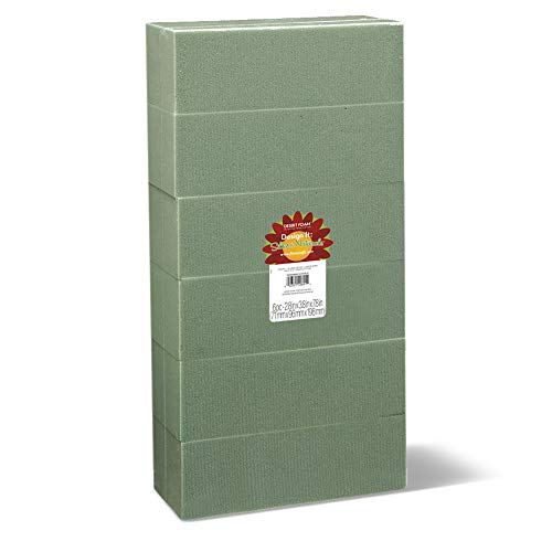 FloraCraft Floral Dry Foam 6 Piece Brick 2.6 Inch x 3.5 Inch x 7.8 Inch Green from FloraCraft