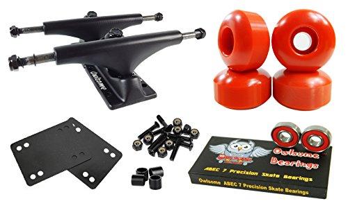Owlsome 5.25 Black Aluminum Skateboard Trucks w/52mm Wheels Combo Set (Red)