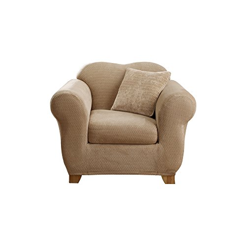 Sure Fit Stretch Royal Diamond 2-Piece - Chair Slipcover  - Cream (SF36765)