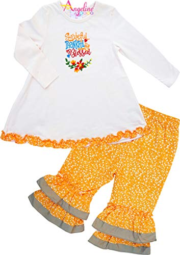 Angeline Baby Toddler Little Girls Thanksgiving's Day Thankful Grateful Blessed Ruffles Tunic Pant Set 18-24M]()