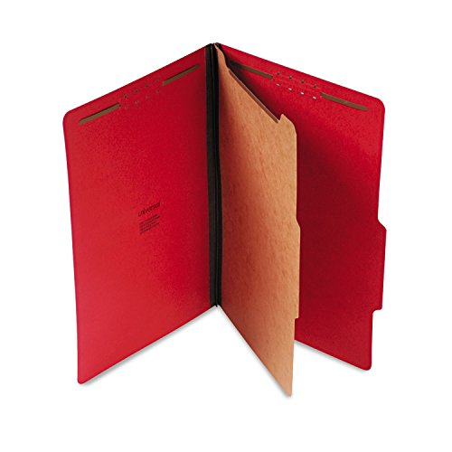 Universal Pressboard Classification Folders, Legal, Four-Section, Ruby Red, 10/Box (10213)