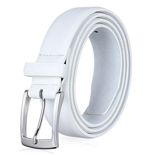 Men's Genuine Leather Dress Belt with Premium Quality - Classic & Fashion Design for Work Business and Casual (sWhite, 46)
