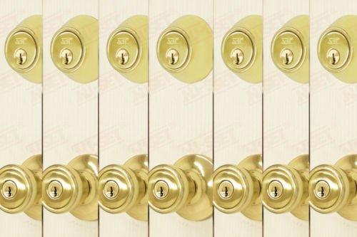 7 Sets of NuSet Contactor Entry Door Lock and Single Cylinder Deadbolt, Brass Finishing, Kwikset keyway