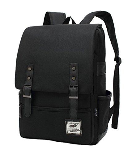 Vintage Canvas Backpack For Unisex (Black) - 4