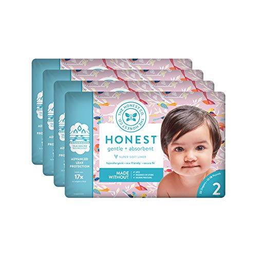 The Honest Company Baby Diapers With TrueAbsorb Technology, Feathered Friends, Size 2, 128 Count