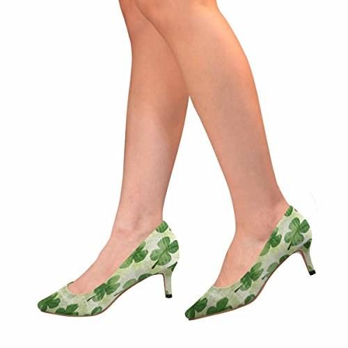 InterestPrint Womens Low Kitten Heel Pointed Toe Dress Pump Shoes Pattern With Watercolor Clover Leaves Multi 1 Dm4tAF82