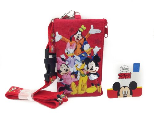 Disney Red Mickey and Friends Lanyard Id Ticket Iphone Key Chain Badge Holder Wallet