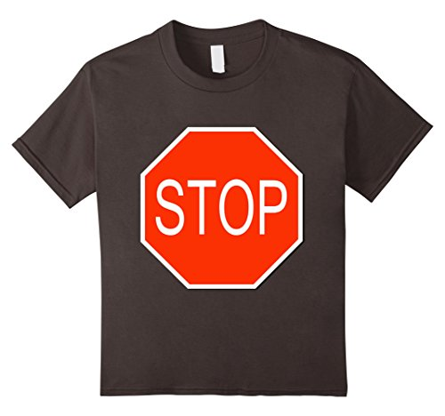 No Costumes Sign (Kids Stop Sign Simple Easy Halloween Costume T-Shirt 4 Asphalt)