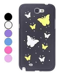CECT STOCK Caso duro del patrón de la mariposa con el Rhinestone exquisito para Samsung Galaxy Note N7100 2 , Blanco