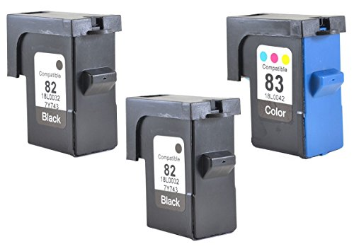 InkClub 3PK 18L0032 18L0042, (2 Black & 1 Color) Ink Cartridge Combo Set, Remanufactured in North America, Compatible With Lexmark 82 & 83, X5150 X6150 X6170 X6180 Z55 Z55se Z65 Z65n Z65p Printers